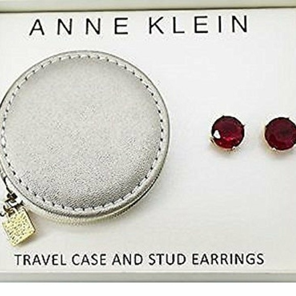 Anne Klein Jewelry - Anne Klein Gold/Red Stone Stud Earring Travel Set